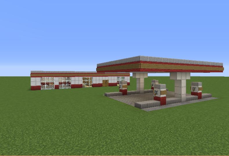 large gas station in minecraft minecraft creations pinterest