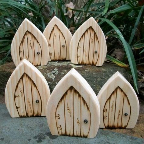 Fairy doors .... IDEA ... cut wood, use wood burning to make door