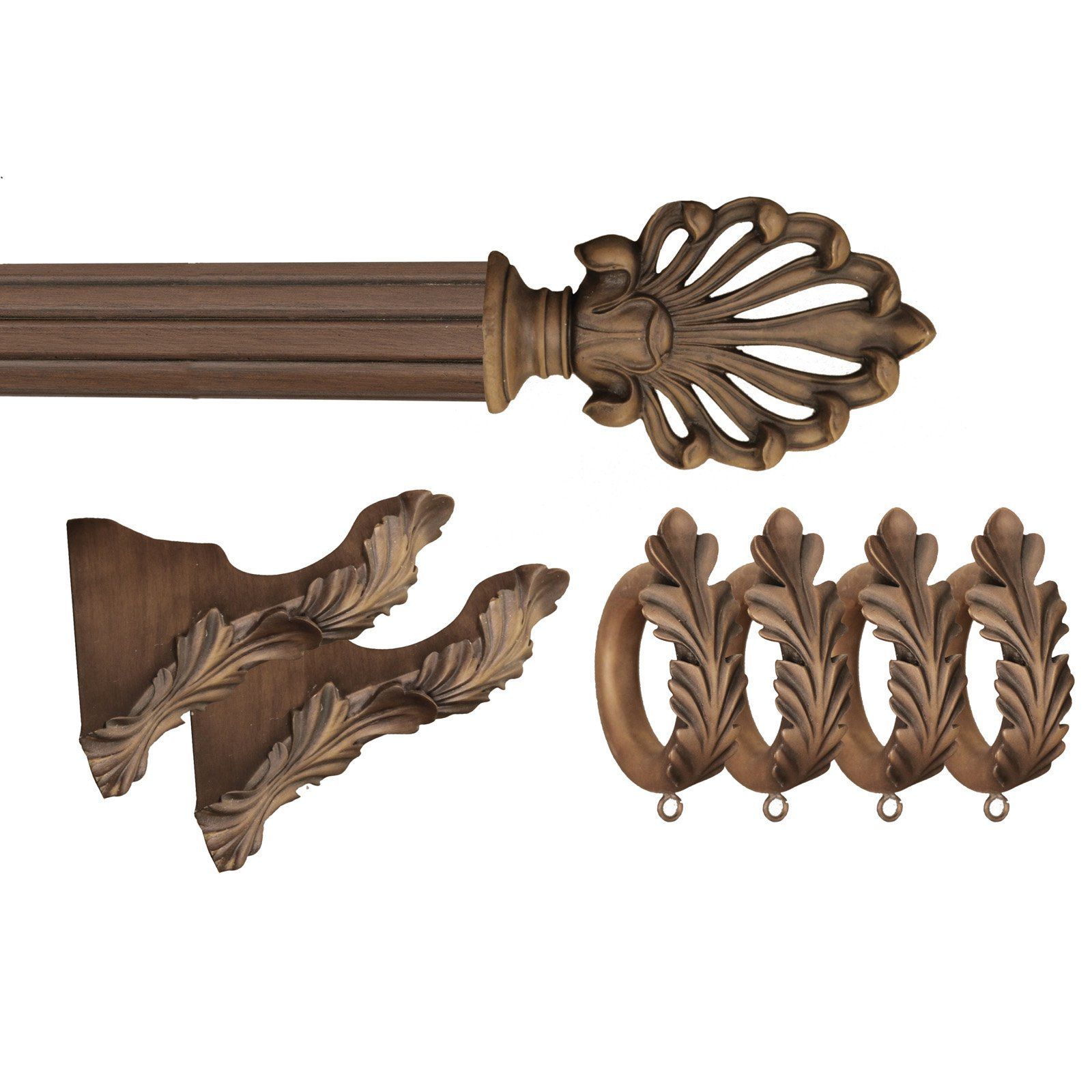 Menagerie Ready 2 In Faux Wood Ludwig Drapery Hardware 13 Pc Set 6 Ft Pole Drapery Hardware Curtain Rod Hardware Hardware