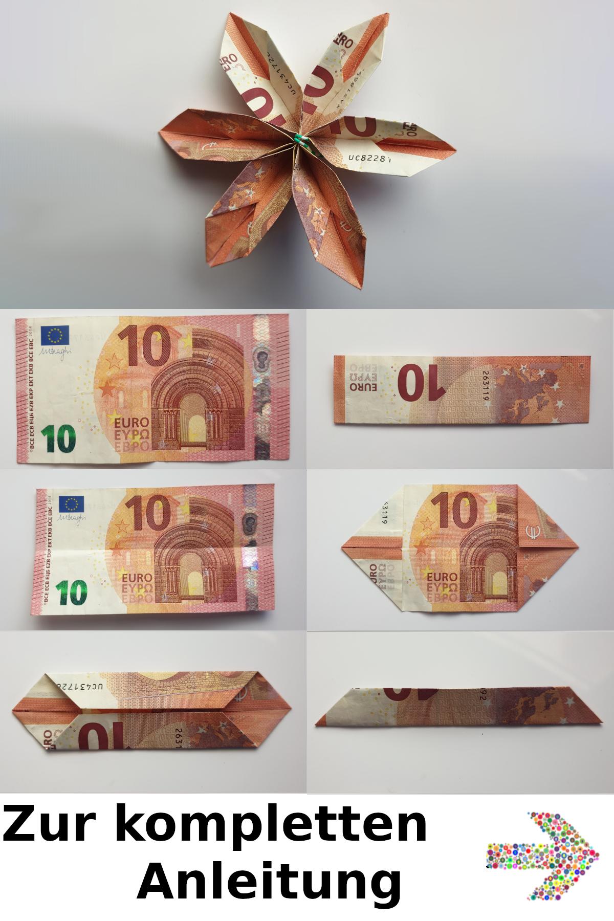 Geldscheine Falten Blume Tutorial Fur Eine Geld Blume Geld Falten Blume Geldgeschenke Geburtstag Selber Basteln Hochzeit Geschenk Geld