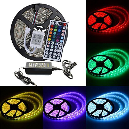 Elcpark 5msixteen4ft rgb altering colour led strip mild 44keys elcpark rgb changing color led strip light ir remote controller led kit smd 5050 waterproof black double sided board trust me this is great diy do solutioingenieria Gallery