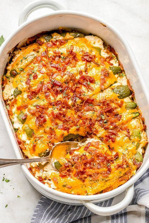 Jalapeño Popper Chicken Casserole #casserolerecipes