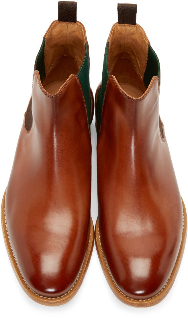 36c776fb7dd PS by Paul Smith Brown Leather Contrast Bertram Chelsea Boots ...