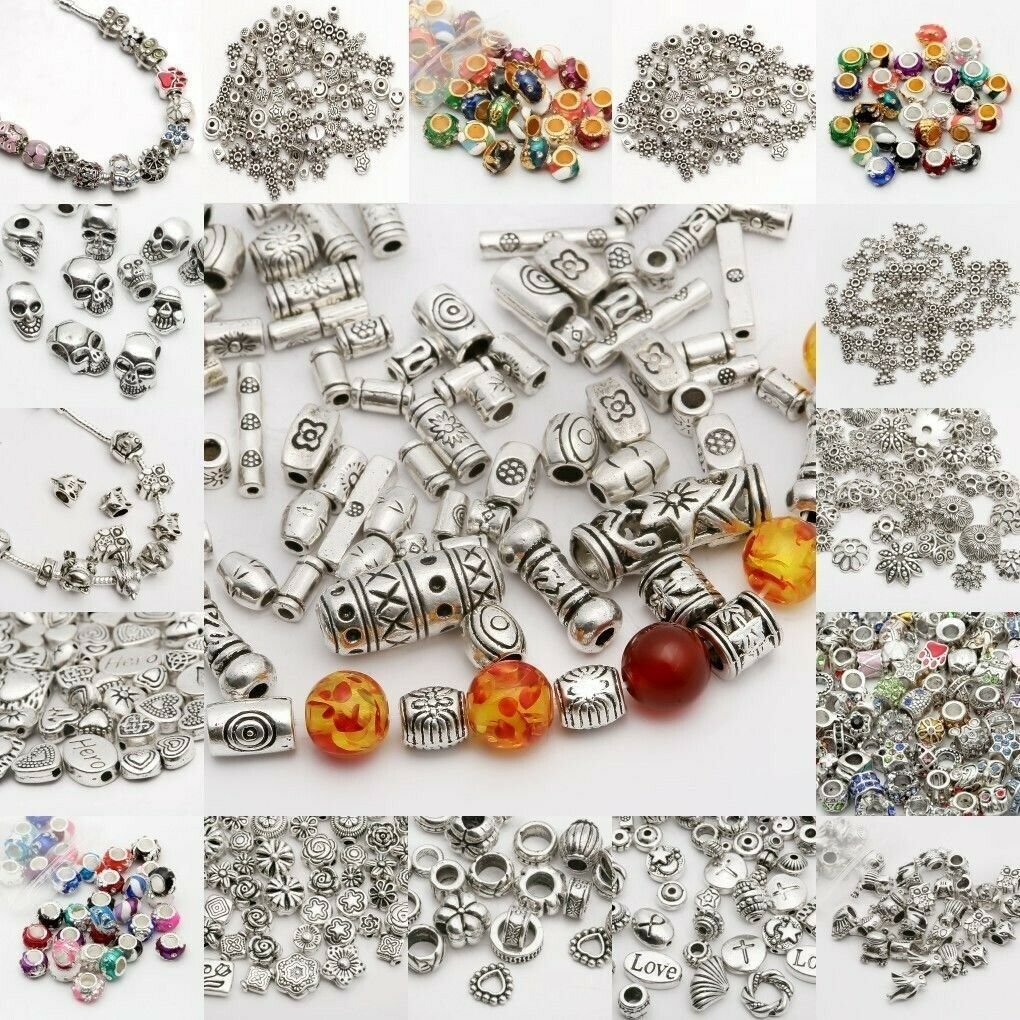 100Pcs Tibetan Silver Charms DIY Spacer Beads For Jewelry Findings 6MM u Pick