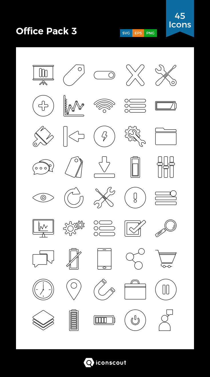 Download Download Office Pack 3 Icon pack - Available in SVG, PNG ...