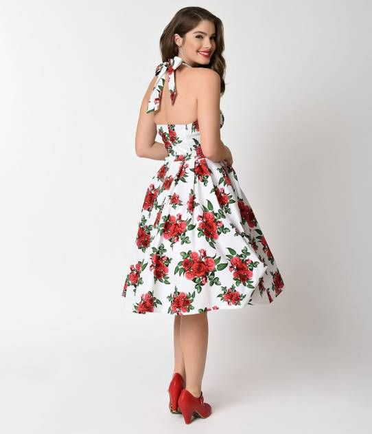 64bcb5f3e7eb Hell Bunny Retro White Rose Floral Halter Cannes Swing Dress ...
