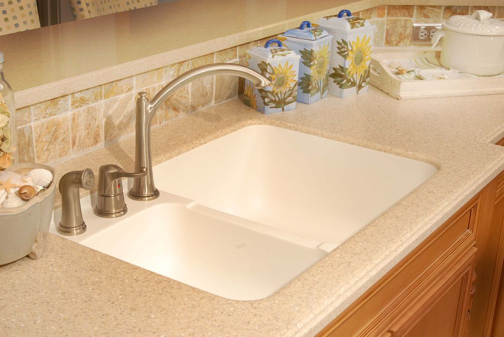 integrated sink with quartz countertop