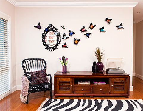 Vinyl record butterflies how to create a feature wall better homes and gardens