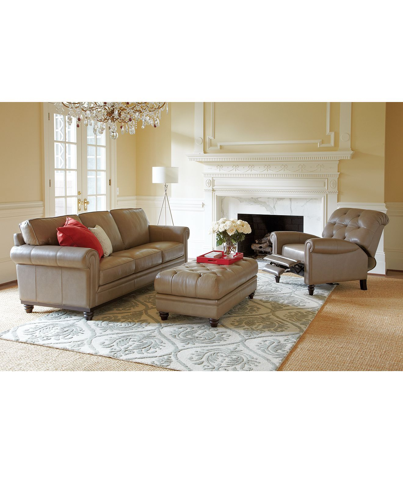 Martha Stewart Collection Bradyn Leather Sofa Collection, Created For Macyu0027s