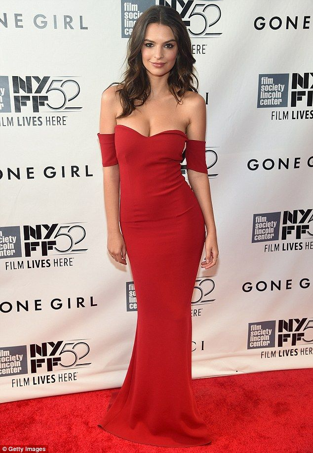 a3a5f8bdaca Red hot! Emily Ratajkowski sizzled in a plunging red dress that put her  cleavage on full show as she attended the premiere for Gone Girl in New  York City on ...