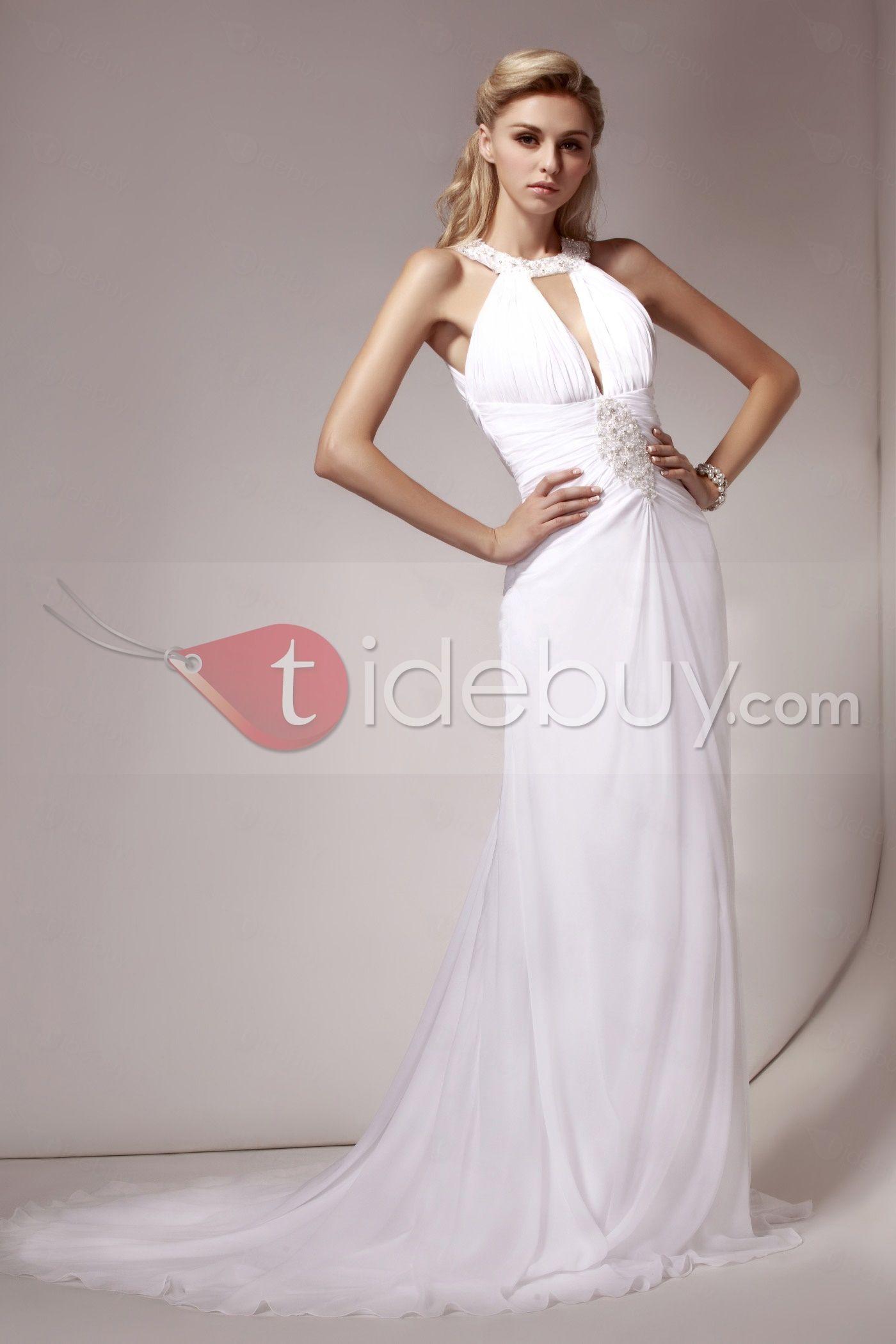 シース/クラムホルターチャペルトレインビーズウェディングドレス