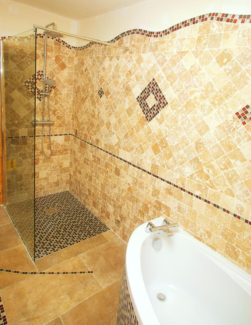 travertin 10x10 faïence + décor + sol travertin 41x61 cm beige + ...