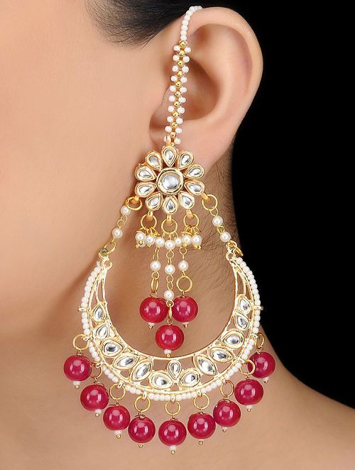 Pink Kundan Inspired Gold Tone Earrings With Floral Motif