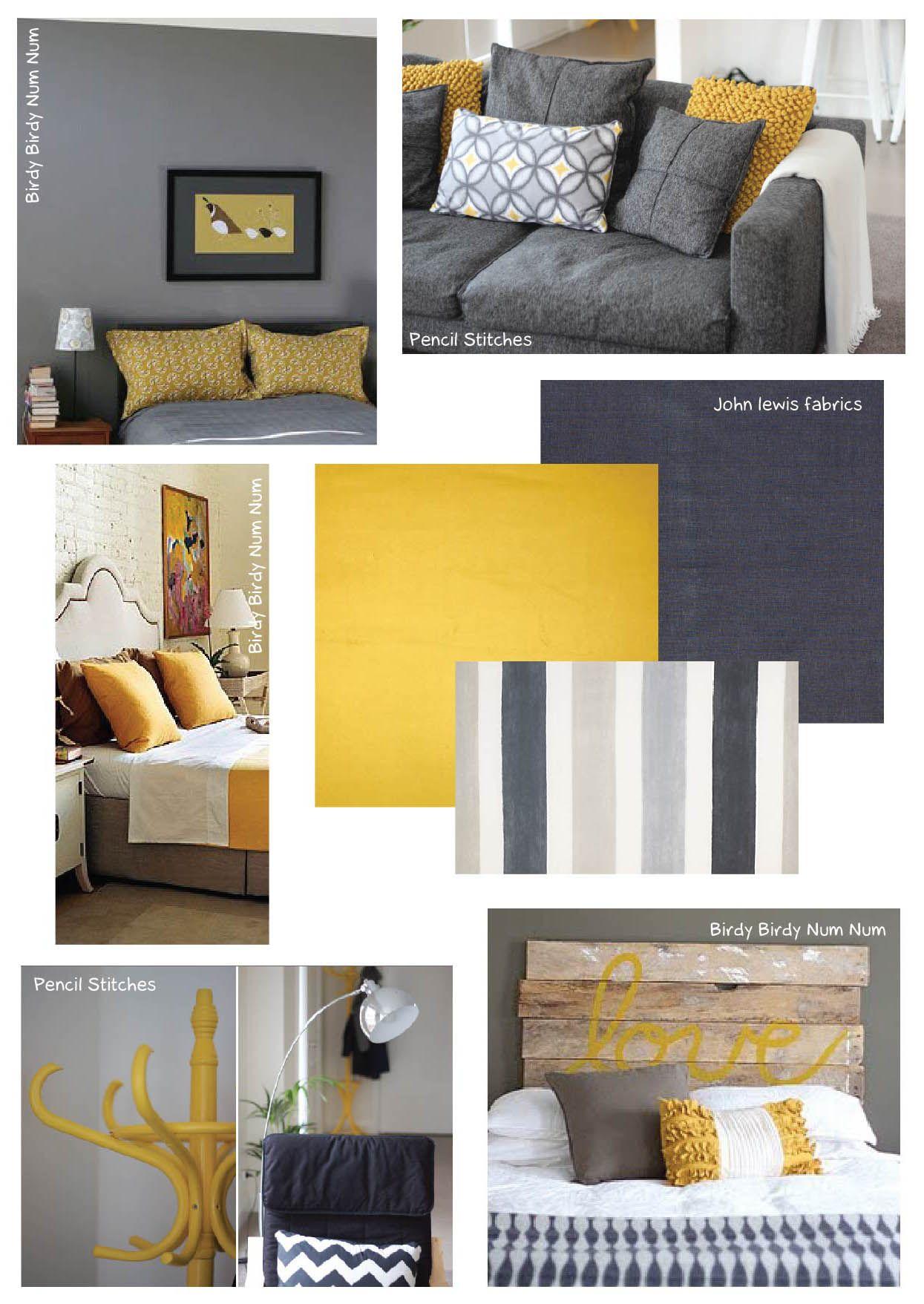 Dark Grey And Mustard Living Room