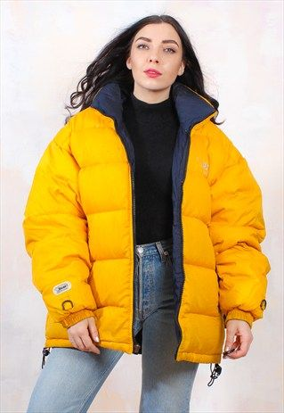 Yellow Puffer Oversized Jacket 90s Vintage Reversible 5IPFFq