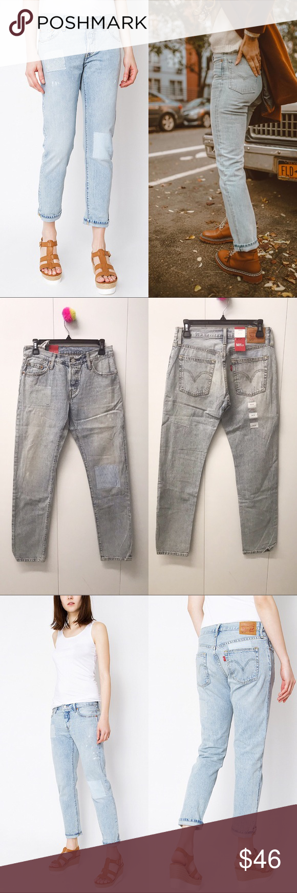 Levi S Jean Bayan Pantolon 501 Ct Customized Tapered Tapered Leg Button Fly Measurements Laying Flat Size 24 Waist 14 R Boyfriend Jeans Levis Jeans Levi