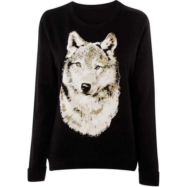 a50a351f30d Ladies Wolf Sweater (3.140 HUF) found on Polyvore | Cool Wolf Stuff ...