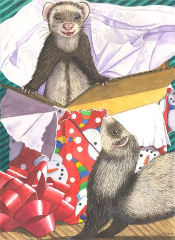 Another Ferret Christmas card  www.catherinemcelroy.com