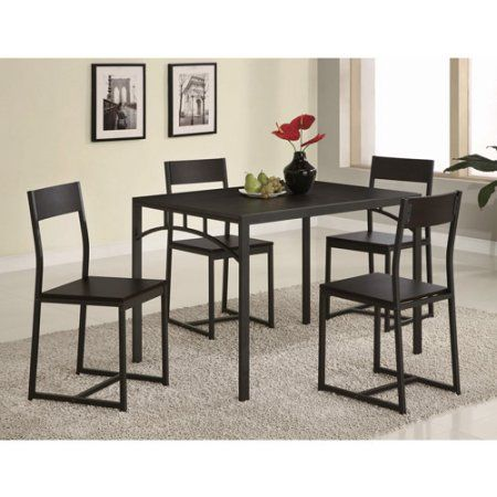 Coaster Cappuccino 5Pc Dinette Set  Walmart  Decorate Fascinating Dining Room Tables Walmart 2018