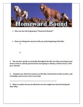 """Homeward Bound"" Movie Guide   Occasionally as part of a unit on personal narrative, I treat students to a viewing of ""Homeward Bound."" I find that asking students to take notes during a film is incredibly helpful at keeping them focused and reminding them that they are responsible for information in the movie. Because these notes are largely focused on elements of a personal narrative essay, they would be a great addition to any unit focused on narrative."