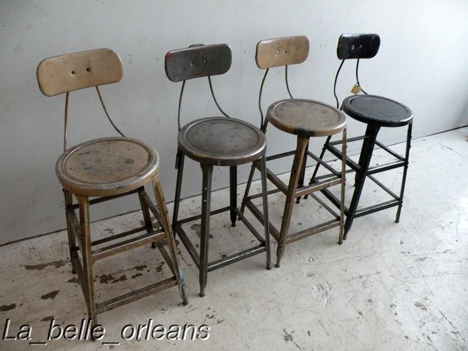 Set Of Four Metal Vintage Industrial Machinist Stools For Sale