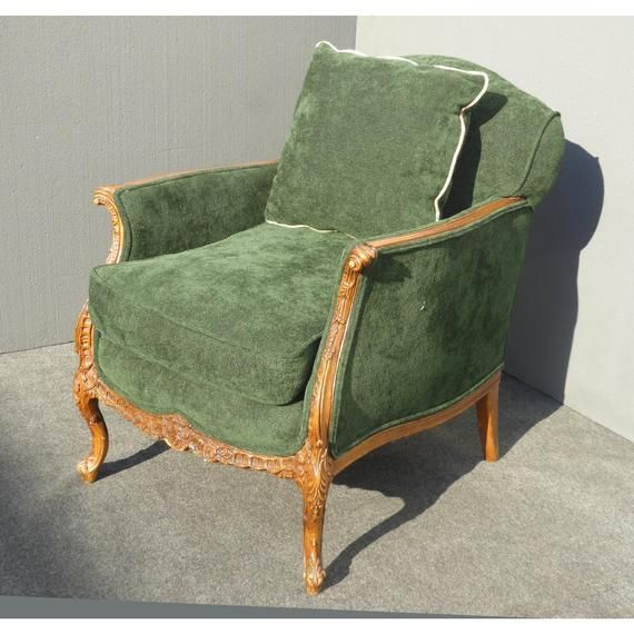 Green Accent Chair Wood Antique Diy: Vintage French Louis XV Style Forest Green Velvet Arm