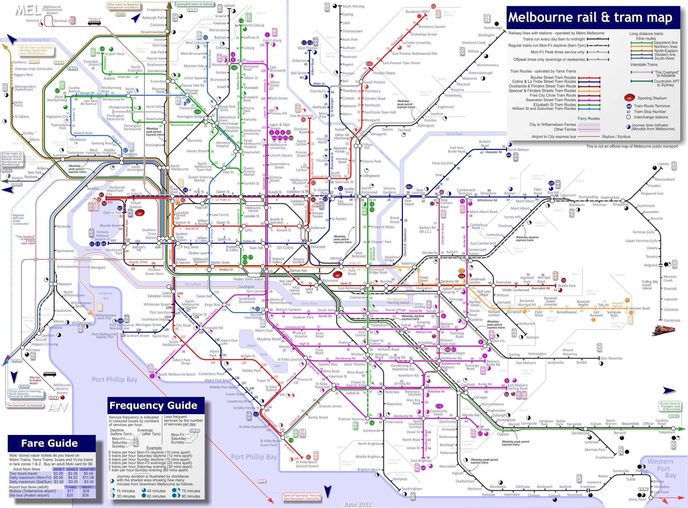 MELBOURNE Train Tram map Melbourne Pinterest Melbourne