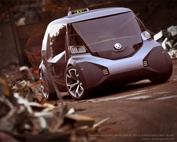 Skoda Ago EXPO Taxi Is A Green Microcar Concept Taxi for World EXPO 2015. Futuristic Car by by Maxim Shershnev and Tigran Lalayan