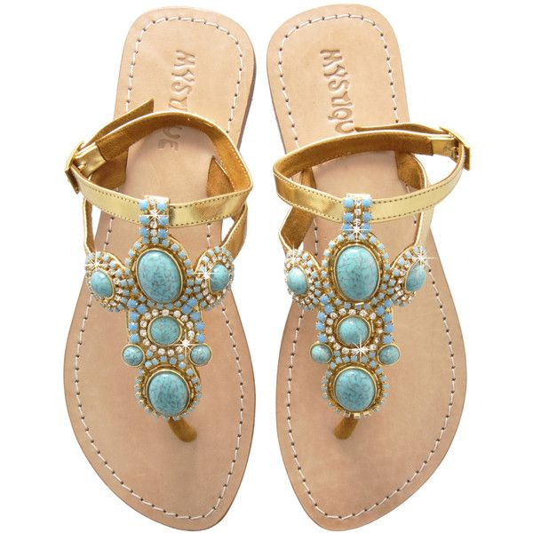 ab9bd18ecb4bd6 MYSTIQUE Turquoise Stone Leather Sandals ( 175) found on Polyvore ...
