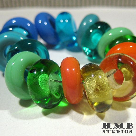Shiny Mix Dangle Handmade Lampwork Beads by hmbstudios on Etsy, $15.00