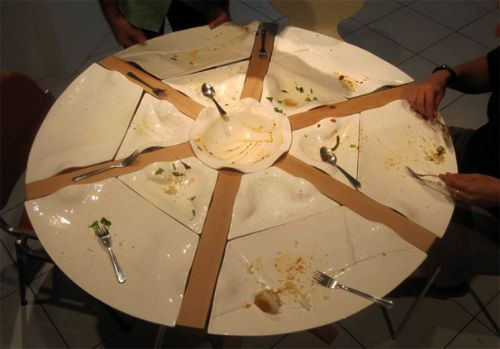 Amazing Kitchen Table Concept Comes With Built In Plates