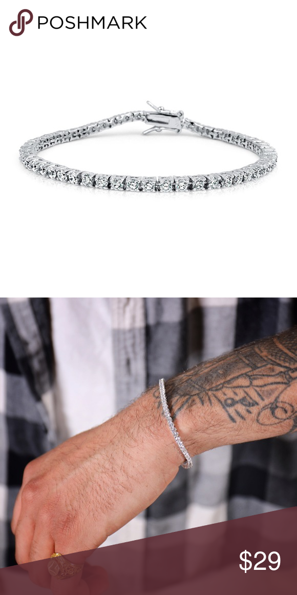 Men S White Gold Lab Diamond Tennis Bracelet Men S White Gold Plated Solitaire Lab Diamo Mens Diamond Bracelet Tennis Bracelet Diamond Gold Chain Bracelet Mens