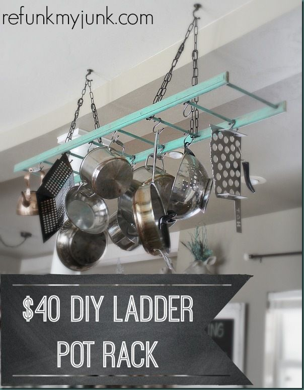 Repurpose Hanging Pot Rack : repurpose, hanging, .00, Ladder, Refunk, Rack,, Ladder,