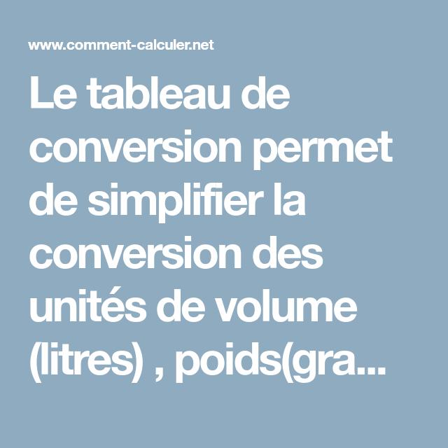 Le Tableau De Conversion Permet De Simplifier La Conversion Des Unites De Volume Litres Poids Grammes Tableau De Conversion Tableau Conversion Des Unites