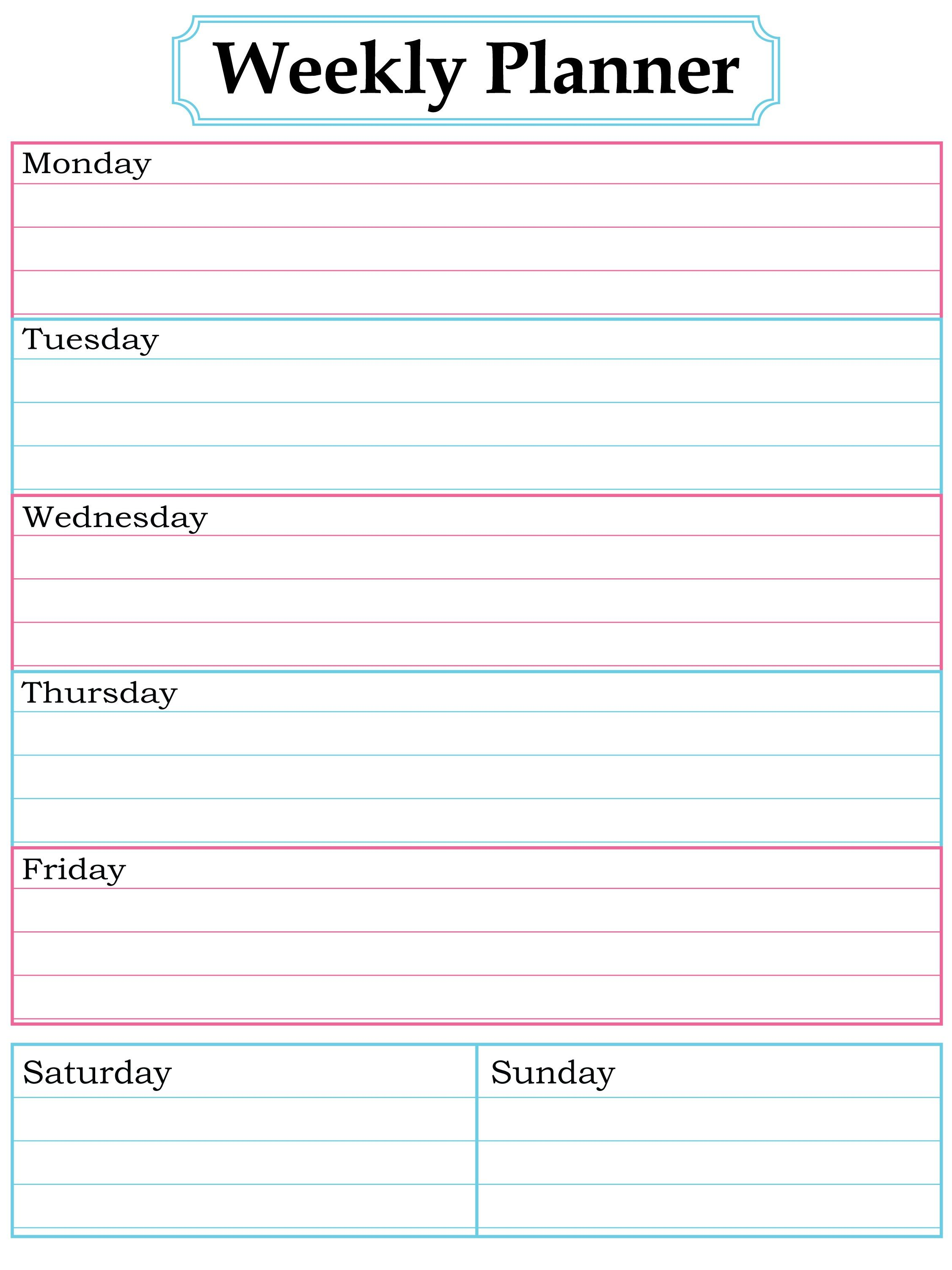 Daily Planner Template Printable Free Printable Daily Calendar ...