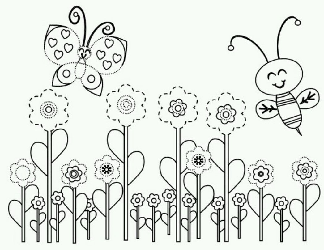 spring bee coloring page bees bugs butterflies 586389 - Coloring Pages Spring Butterflies