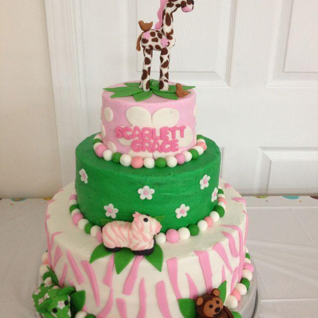 Baby girl safari cake   Baby shower cakes