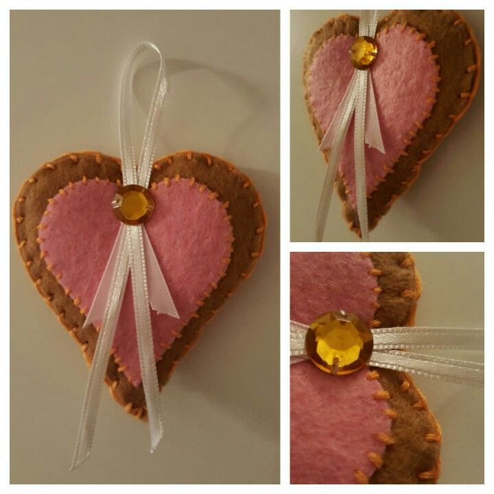 Key chain - ♡heart♡ - filz schlüsselanhänger - braun /rosa
