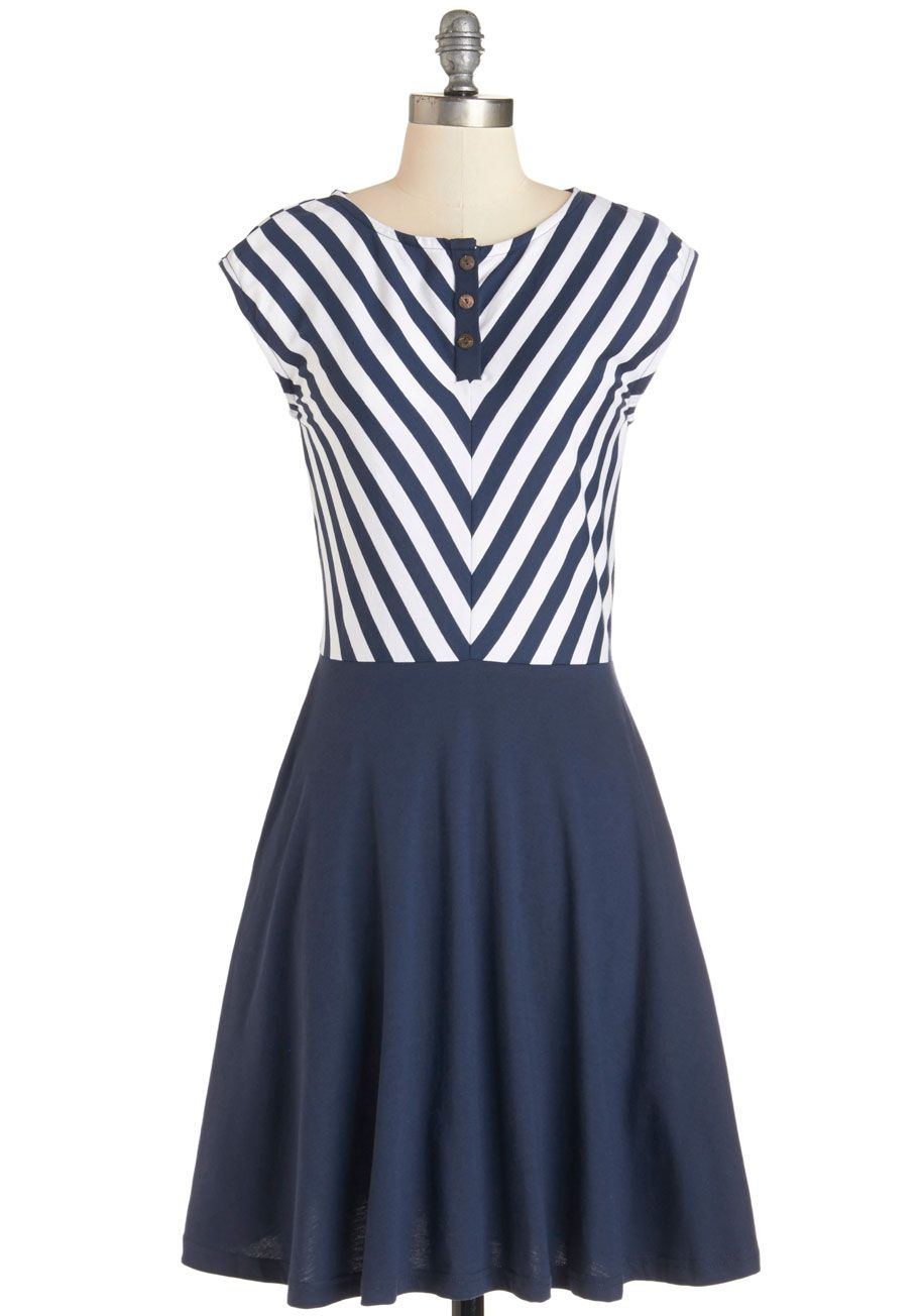 Knots to Love Dress. Ready or nautical - youre about to fall in love with the navy and white hues of this fit-and-flare dress from Synergy. #blue #modcloth