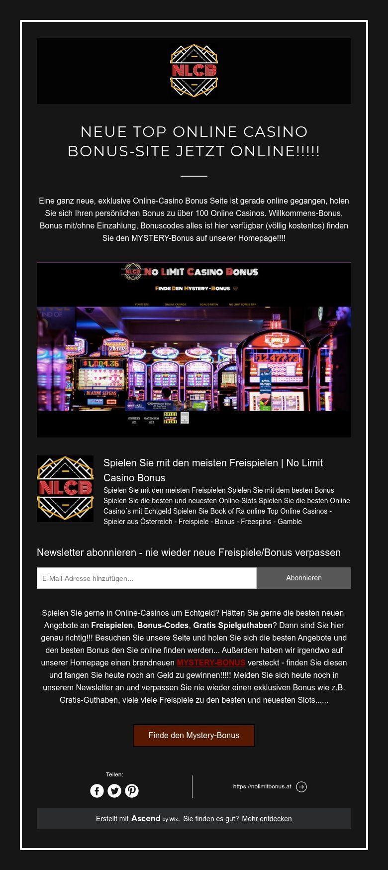 Neueste Online Casino Bonusse