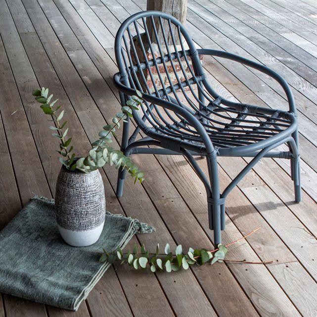 Assise De Jardin En Rotin Gris Mina Grey Tikamoon Meuble