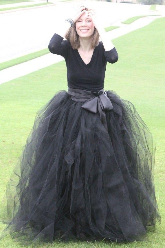 86a9ca997c Black adult tutu, long black skirt, sewn tutus, Wide Satin sash, Wedding  tutu, Prom dress