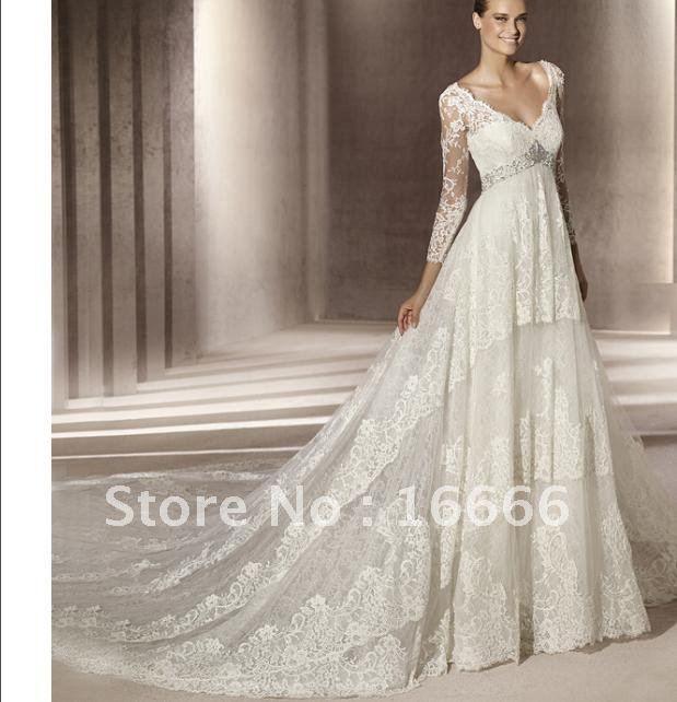 Aliexpress Com Buy Elegant Flare Sleeve Wedding Dress: 2012 Lace Long Sleeve Wedding Gowns V Neck With Chapel
