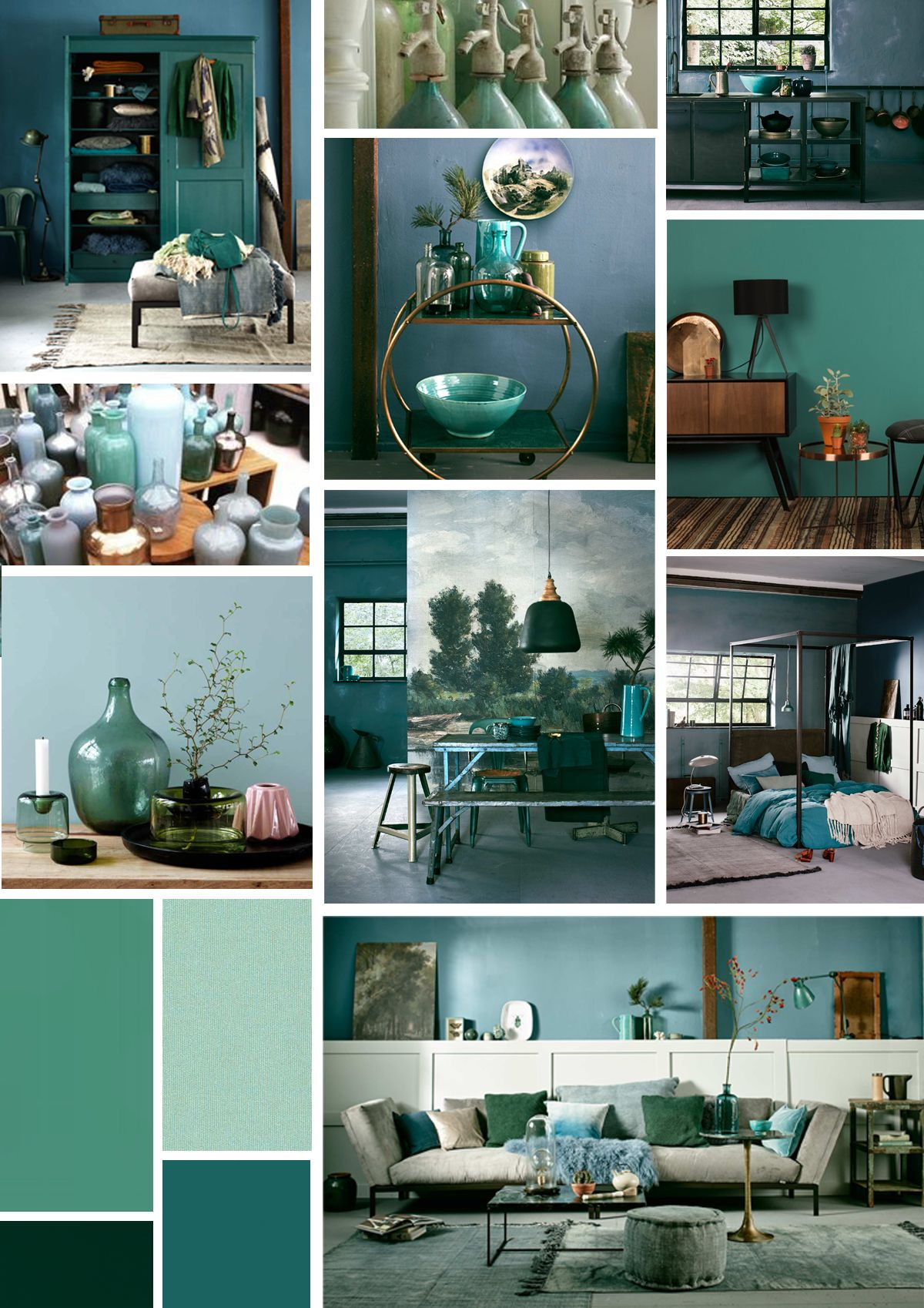 Woontrend  diverse groen en turquoise tinten voor in huis