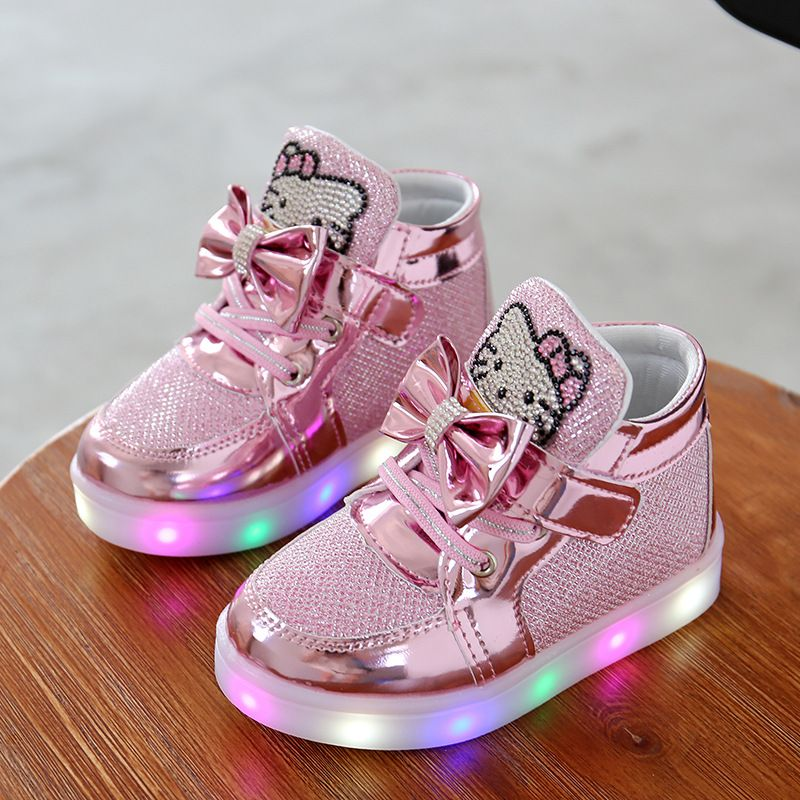 56aa6b38d New Girls Shoes Baby Fashion Hook Loop Led Shoes Kids Light Up Glowing Sneakers  Little Girls