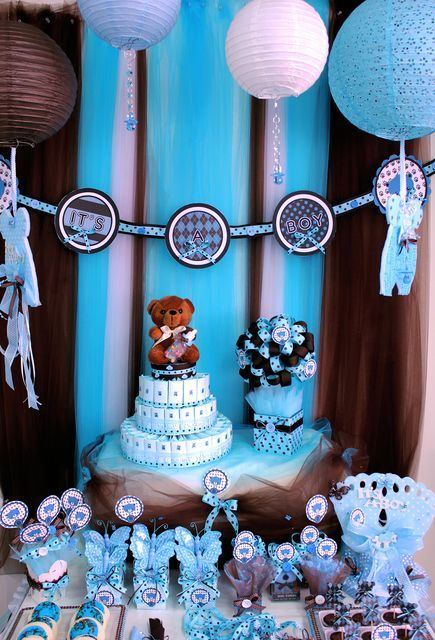 Brown And Blue Teddy Bear Theme Baby Boy Shower Party Ideas