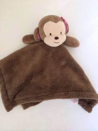 Cocalo Monkey Security Blanket Baby Lovey Brown Plush Pink