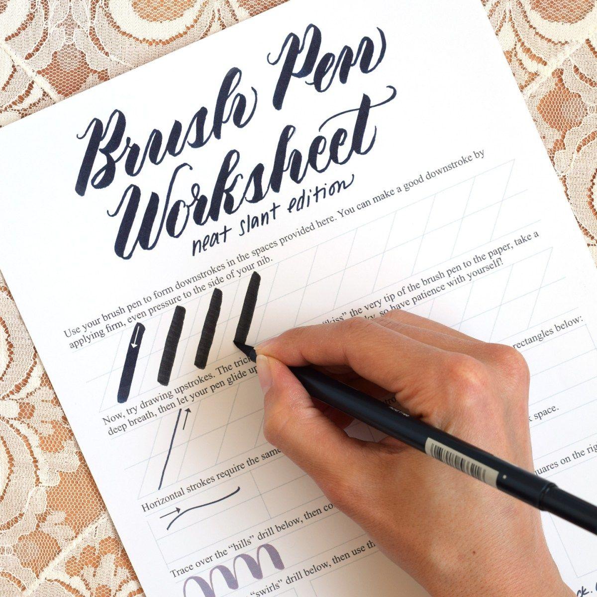 Free Brush Pen Calligraphy Worksheet: Neat Slant Edition