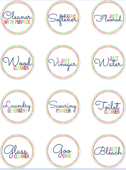 I especially love the homemade cleaner cheat sheet AND the printable Avery  labels  I might need to do this to organize my homemade cleaners. Free printable labels for homemade cleaners   print on  clear