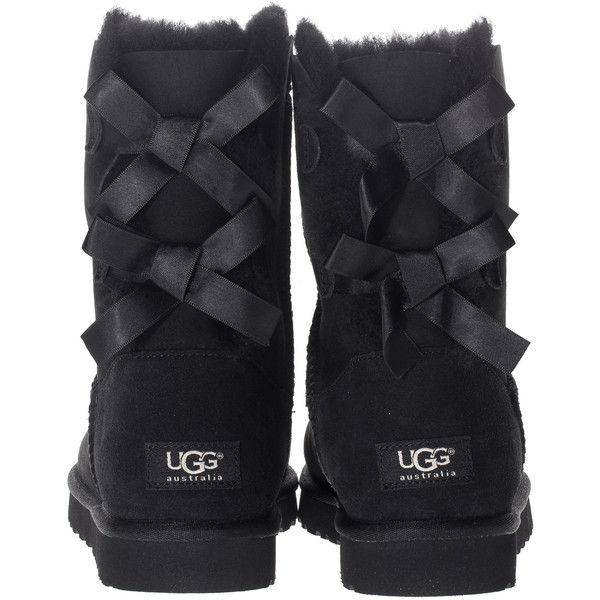 630c88ab110 UGG Short Bailey Bow Black Shearling boots with bow ($130) ❤ liked ...